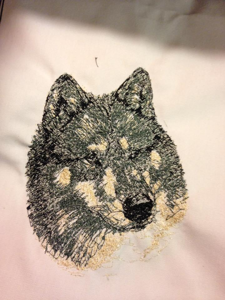 Wolf photo stitch embroidery design