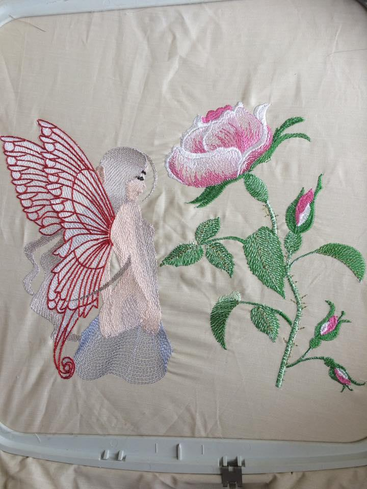Sexy fairy and rose free embroidery design