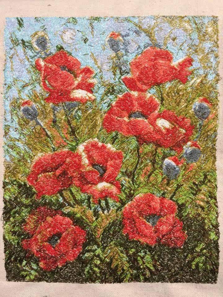 Hilltop poppies painting with thread free embroidery design