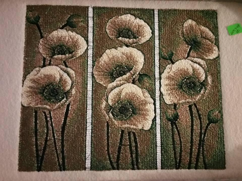 Anemones embroidered with free design