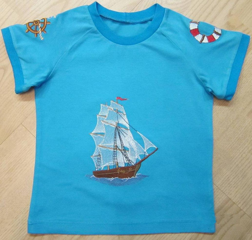 T-shirt with Sea ship free embroidery design