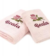 Two embroidered towels with Roses design