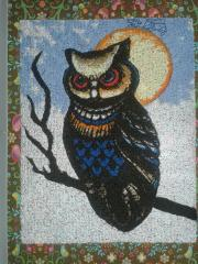 Forest owl embroidery design