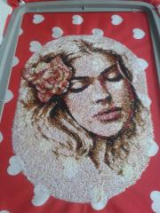 In hoop young woman photo stitch free embroidery design