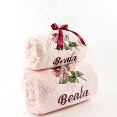 Embroidered set of two towels with Roses design