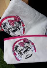 Bulldog set of embroidered towel and cosmetic bag