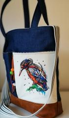 Embroidered bag with Bright bird design