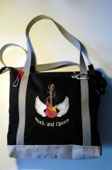 Embroidered bag with Guitar and Wings design