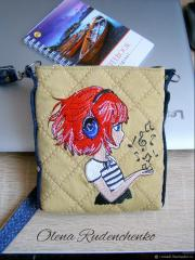 Embroidered bag with Music and girl design