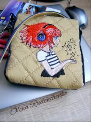 Embroidered bag with Music for little girl design