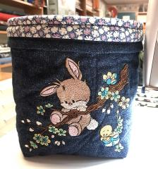 Embroidered basket with Bunny on branch design