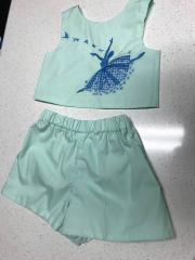 Embroidered clothing set with Ballerina design