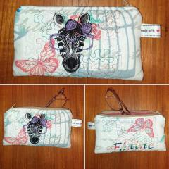 Embroidered glasses case with Zebra design