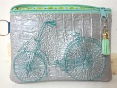 Embroidered handbag with Bike design