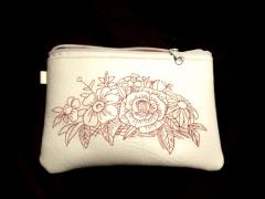 Embroidered handbag with Flowers design