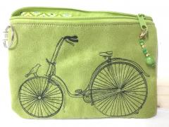 Embroidered handbag wth Bicycle design