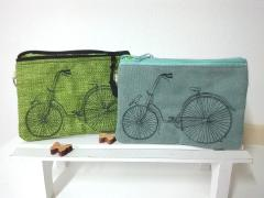 Embroidered handbags with Bicycles design