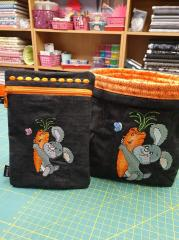 Embroidered set with Bunny and carrot design