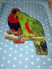 Two colorful parrots embroidery design