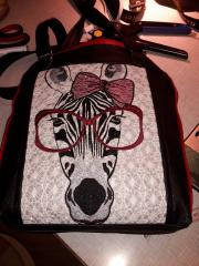 Bag with free machine embroidery