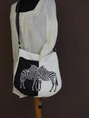 Adorable women's bag with zebras free machine embroidery design