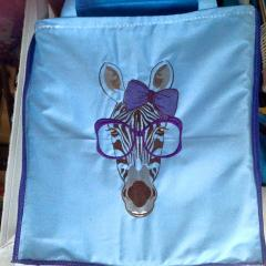 Grocery bag with Zebra free embroidery design