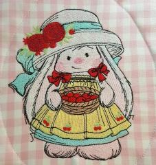 Bunny girl embroidery design