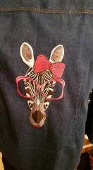 Denim jacket embroidered with Zebra free design