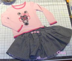 Pink zebra outfit with free embroidery design