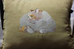 Embroidered pillow with cat free design