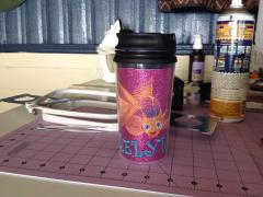 Embroidered cup cover with free gold fish embroidery