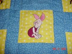 Piglet embroidered block for quilt