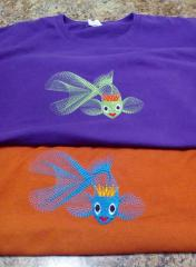 T shirt embroidered with gold fish design