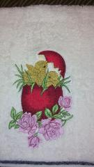 Easter eggs and chicken embroidered towel