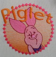 Badge with Piglet free embroidery design