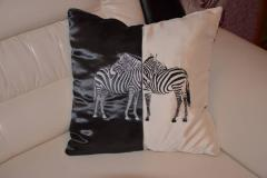 Pillow with zebra free embroidery design