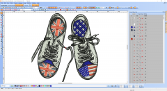 Great Britain and USA cross shoes embroidery design preview