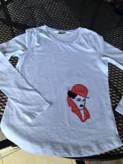 Shirt with Charlie Chaplin applque free embroidery design