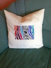 Pillow with color zebra free embroidery design