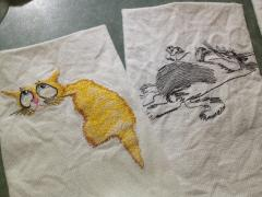 Sassy mouse and cat free machine embroidery
