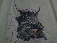 Strange cat free embroidery design