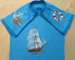 T shirt with Sea ship free embroidery design