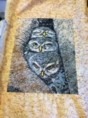 Towel with cute small owls free free embroidery design