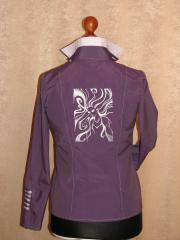 Woman's coat with woman free embroidery design