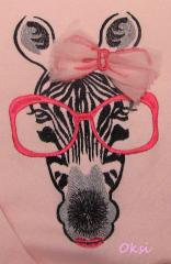 Pink t-shirt with Zebra  glasses free machine embroidery design