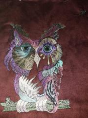 Colorful owl embroidery design