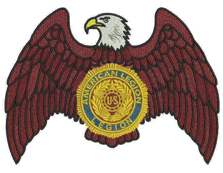 American legion eagle logo embroidery design