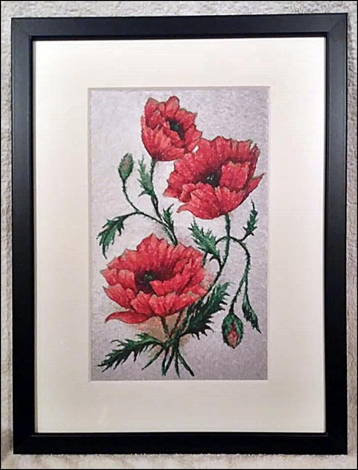 Embroidered picture with Poppies design