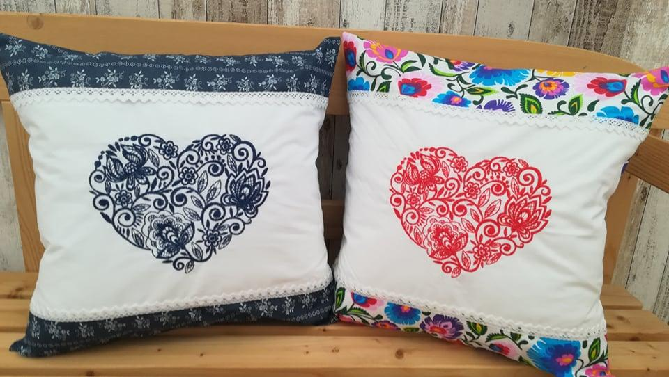 Embroidered cushions with Heart design