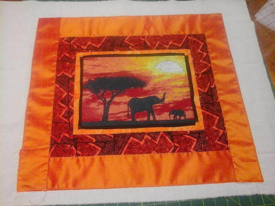 Embroidered cushion with African elephant free photo stitch design